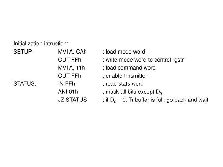 Initialization intruction: