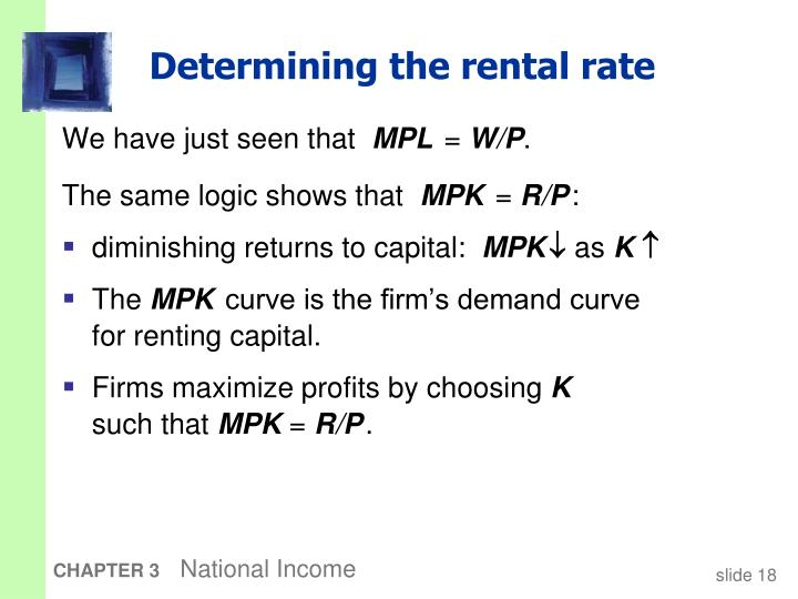 Determining the rental rate