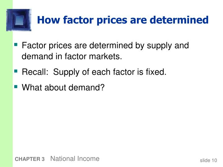 How factor prices are determined