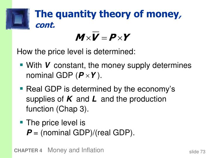 The quantity theory of money