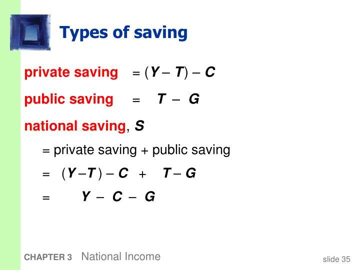 Types of saving