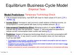 equilibrium business cycle model empirical tests9