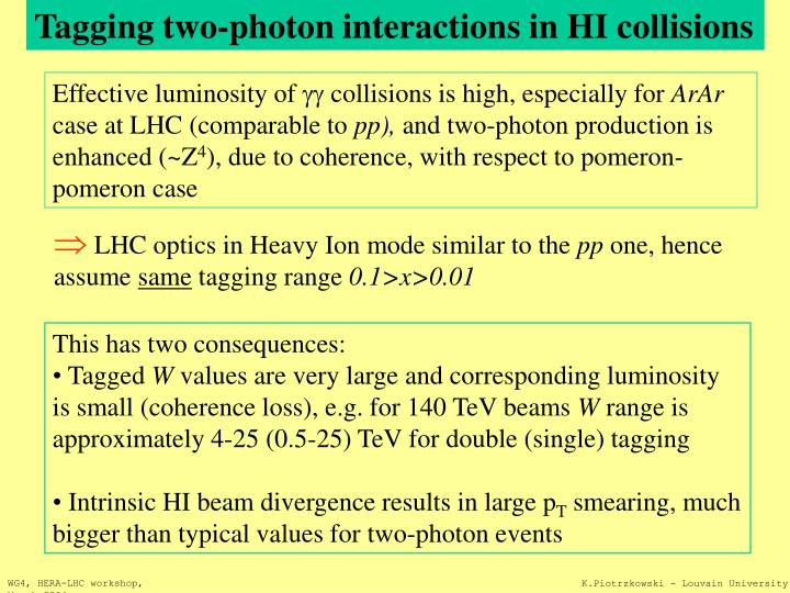 Tagging two-photon interactions in HI collisions