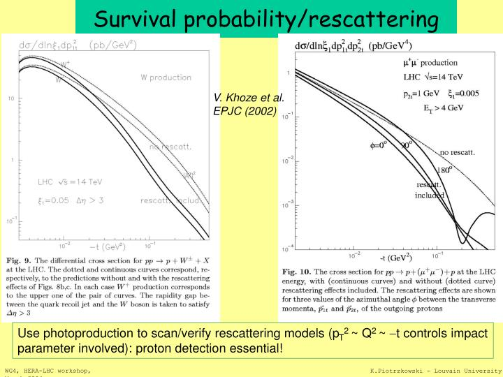 Survival probability/rescattering