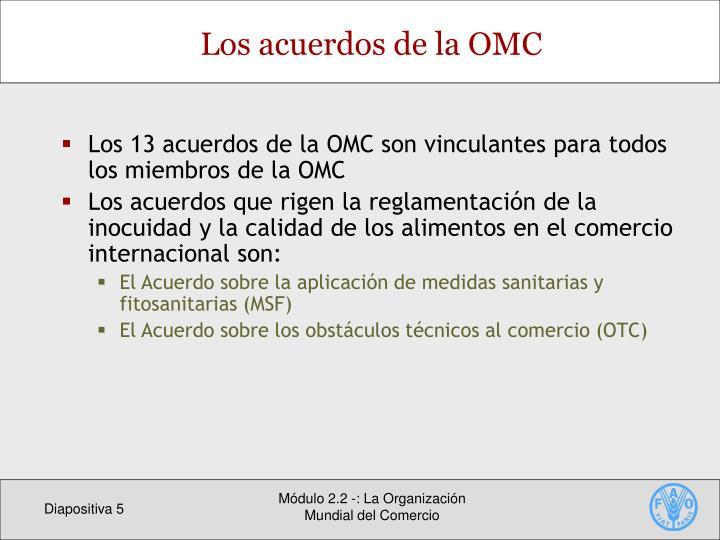Los 13 acuerdos de la OMC son vinculantes para todos los miembros de la OMC