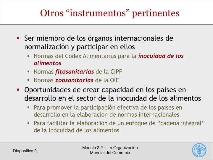 "Otros ""instrumentos"" pertinentes"