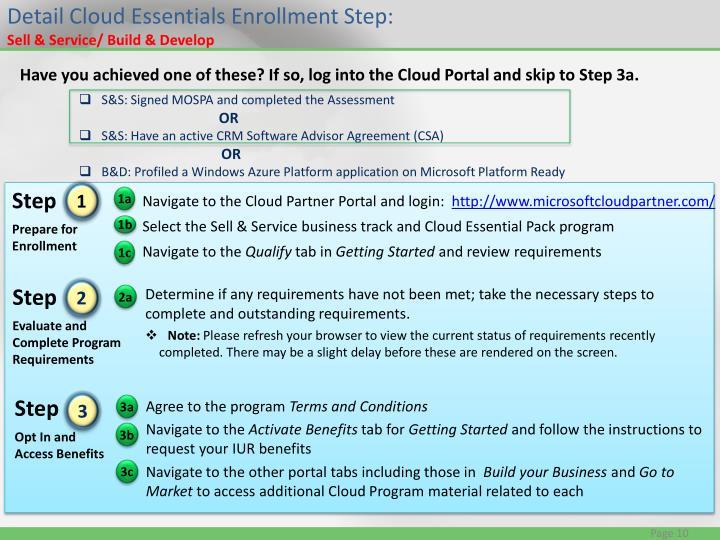 Detail Cloud Essentials Enrollment Step: