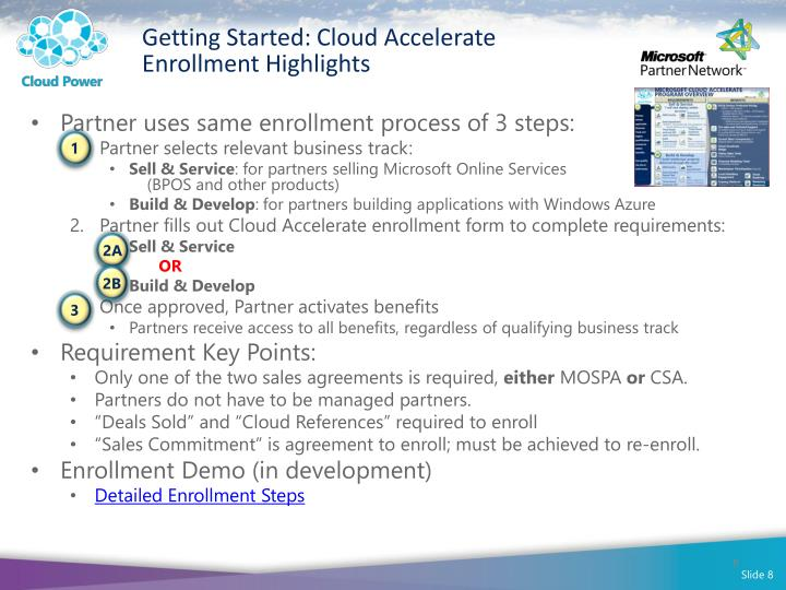 Getting Started: Cloud Accelerate Enrollment Highlights