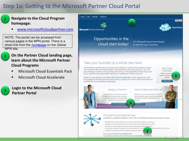 Step 1a: Getting to the Microsoft Partner Cloud Portal