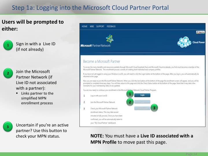 Step 1a: Logging into the Microsoft Cloud Partner Portal