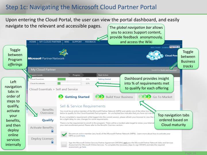 Step 1c: Navigating the Microsoft Cloud Partner Portal