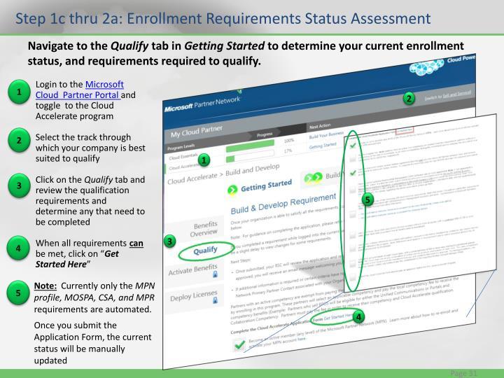Step 1c thru 2a: Enrollment Requirements Status Assessment