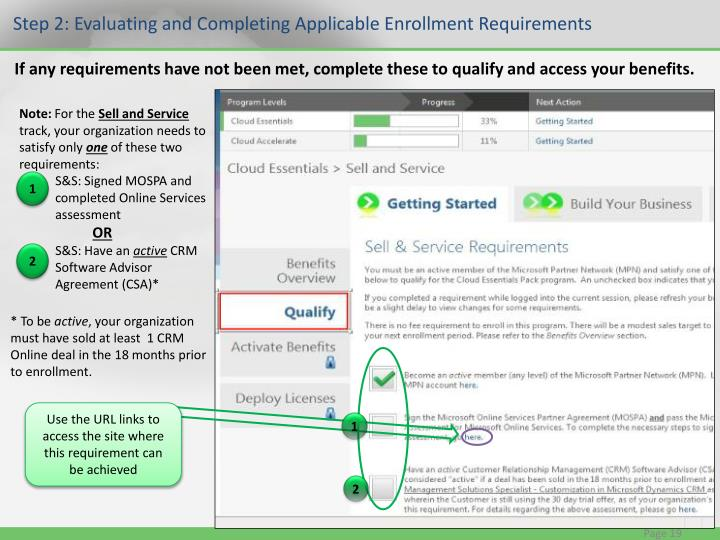 Step 2: Evaluating and Completing Applicable Enrollment Requirements