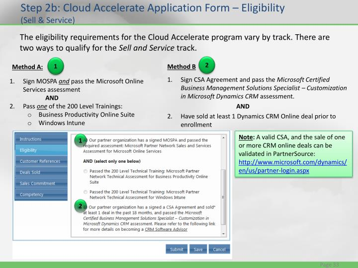 Step 2b: Cloud Accelerate Application Form – Eligibility