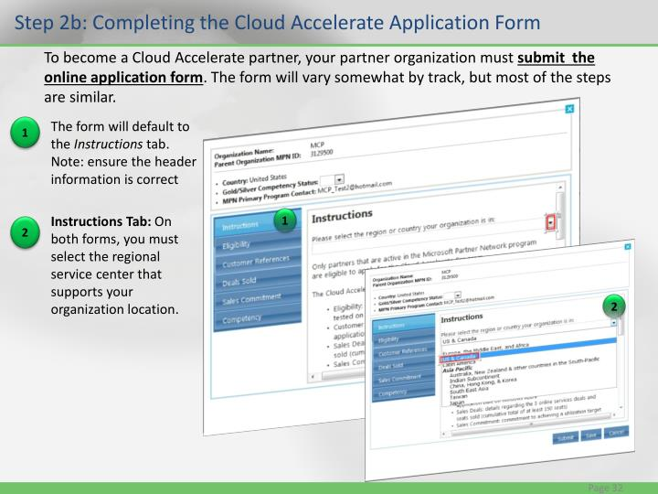 Step 2b: Completing the Cloud Accelerate Application Form