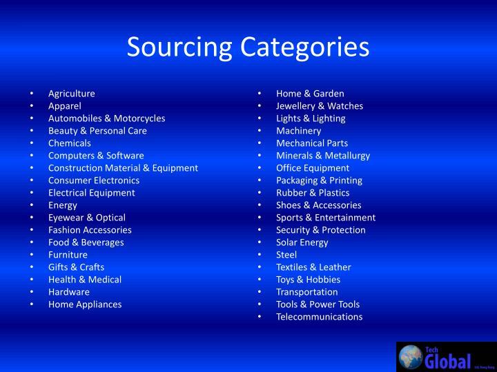 Sourcing Categories