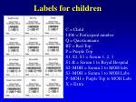labels for children