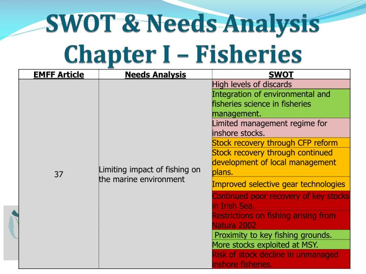 SWOT & Needs Analysis Chapter I – Fisheries