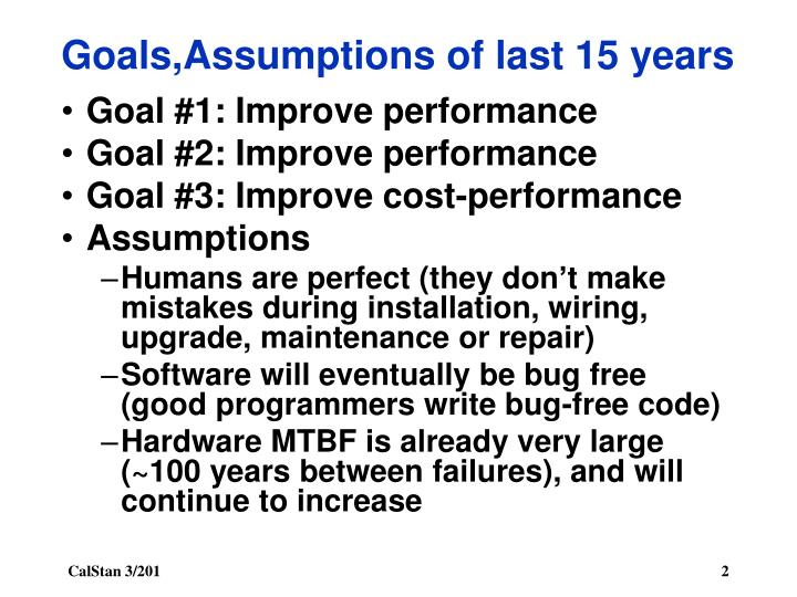 Goals assumptions of last 15 years