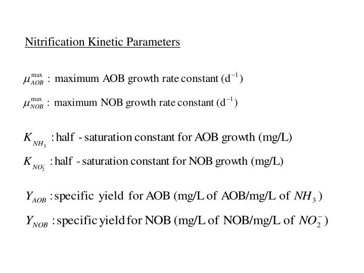 Nitrification Kinetic Parameters