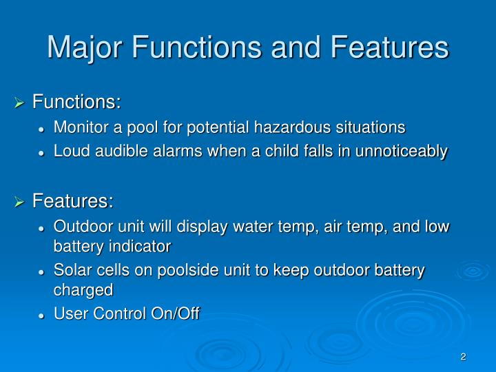 Major Functions and Features