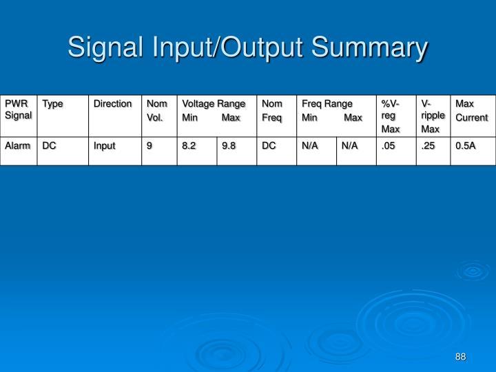 Signal Input/Output Summary