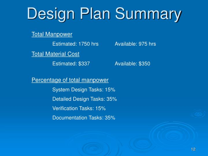 Design Plan Summary