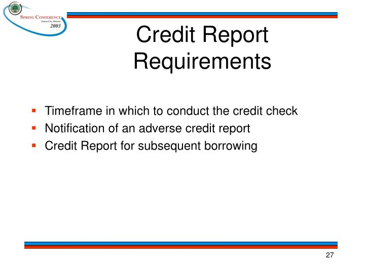Credit Report Requirements