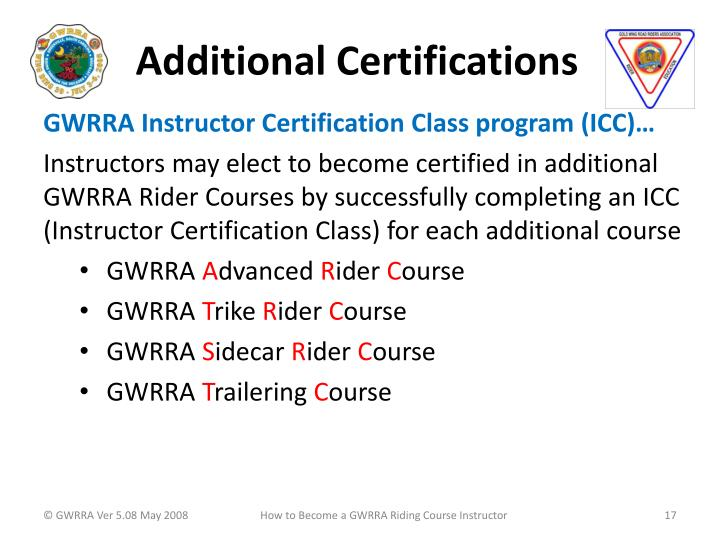 Additional Certifications