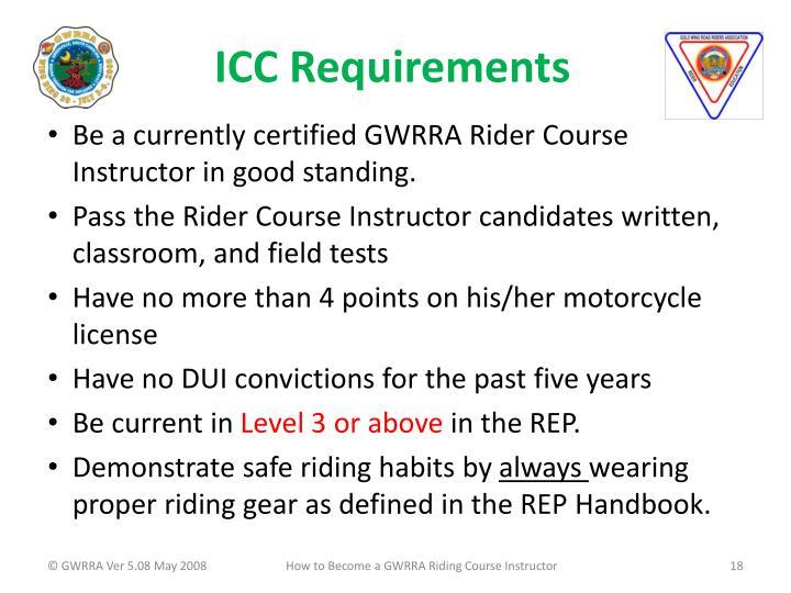 ICC Requirements