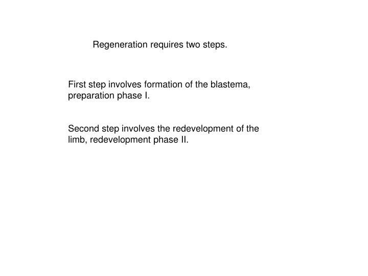 Regeneration requires two steps.