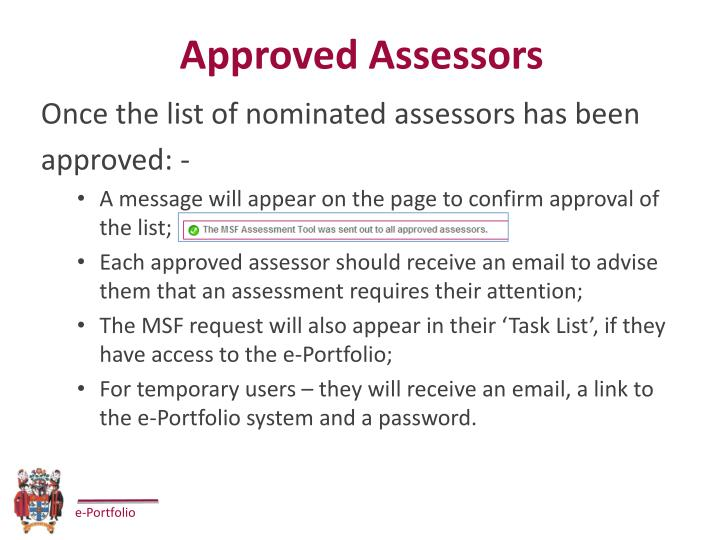Approved Assessors