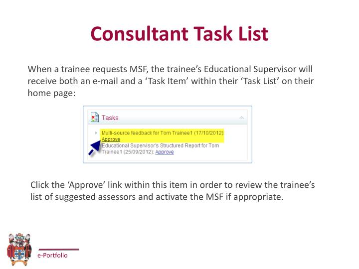 Consultant Task List