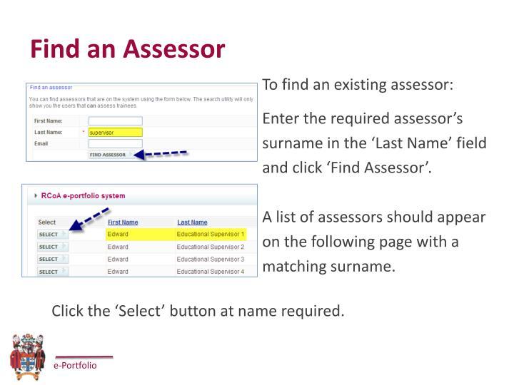 Find an Assessor