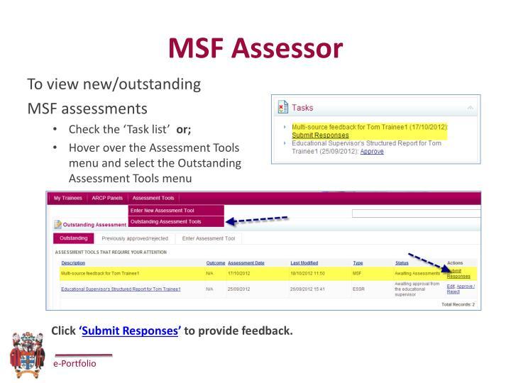 MSF Assessor