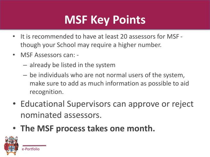 MSF Key Points