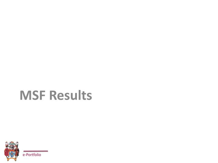 MSF Results