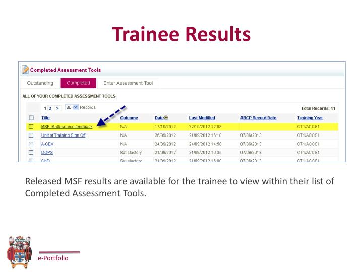 Trainee Results