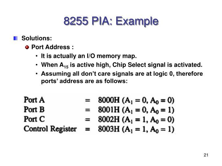 8255 PIA: Example