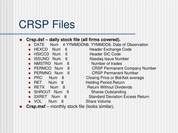 CRSP Files