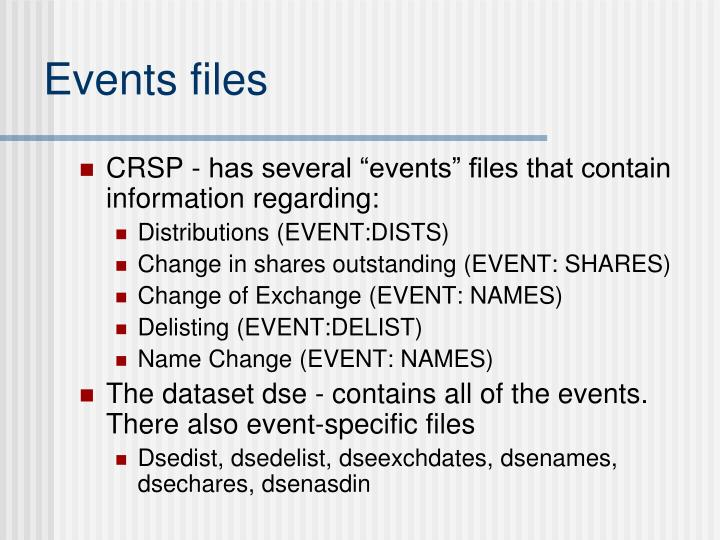 Events files