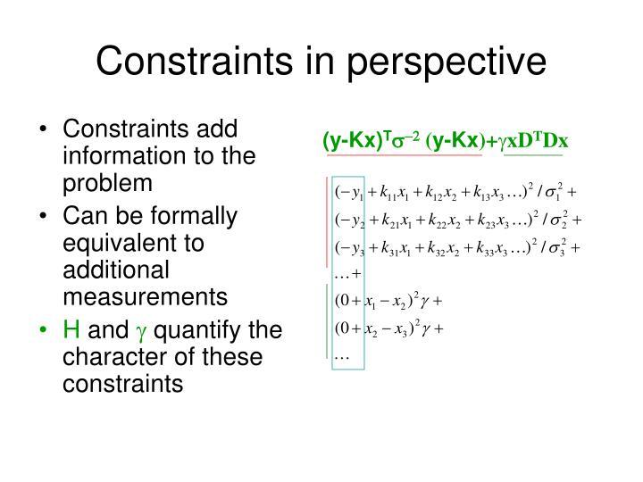 Constraints in perspective