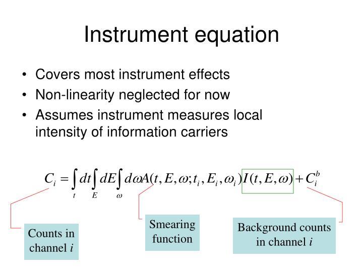 Instrument equation