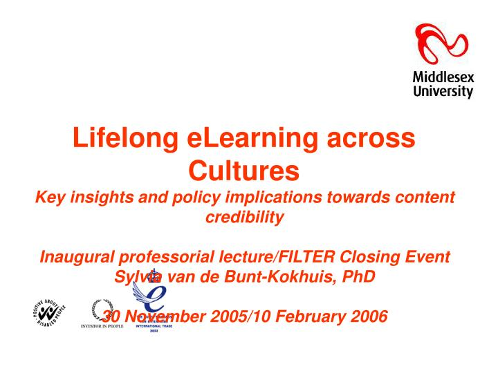 Lifelong eLearning across Cultures