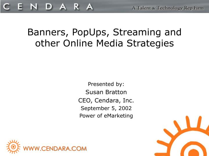 banners popups streaming and other online media strategies