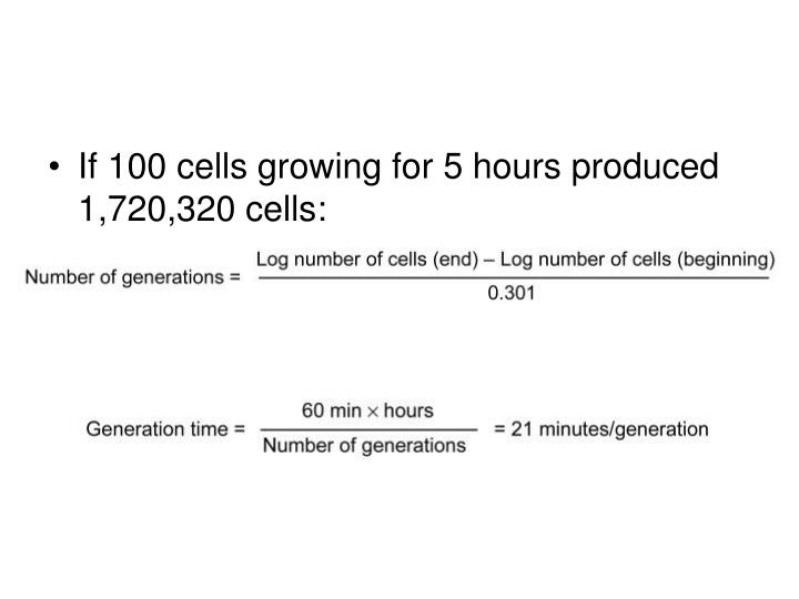 If 100 cells growing for 5 hours produced 1,720,320 cells:
