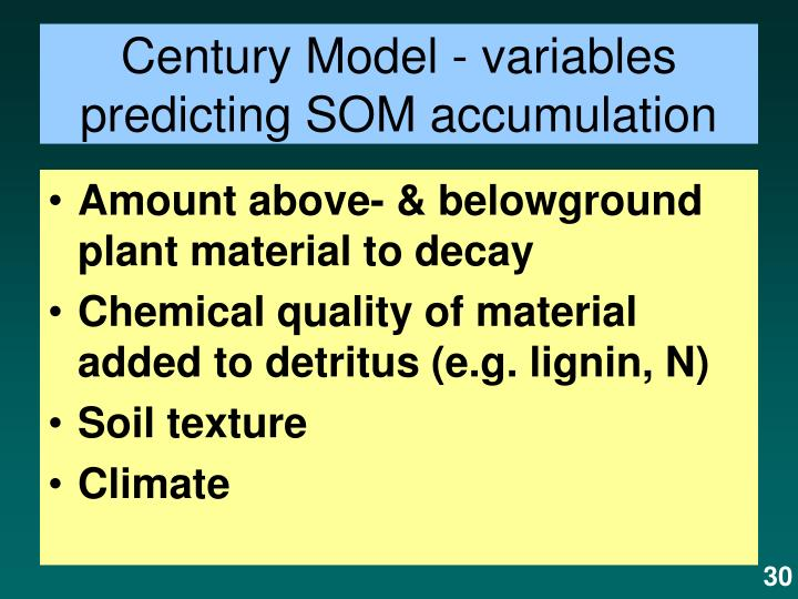 Century Model - variables predicting SOM accumulation