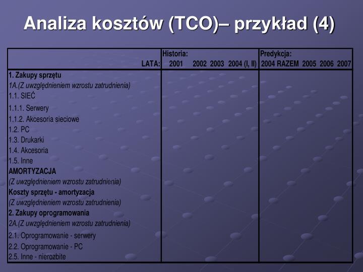 Analiza kosztów (TCO)– przykład (4)