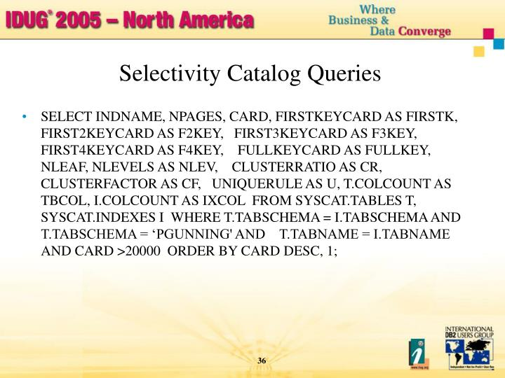 Selectivity Catalog Queries