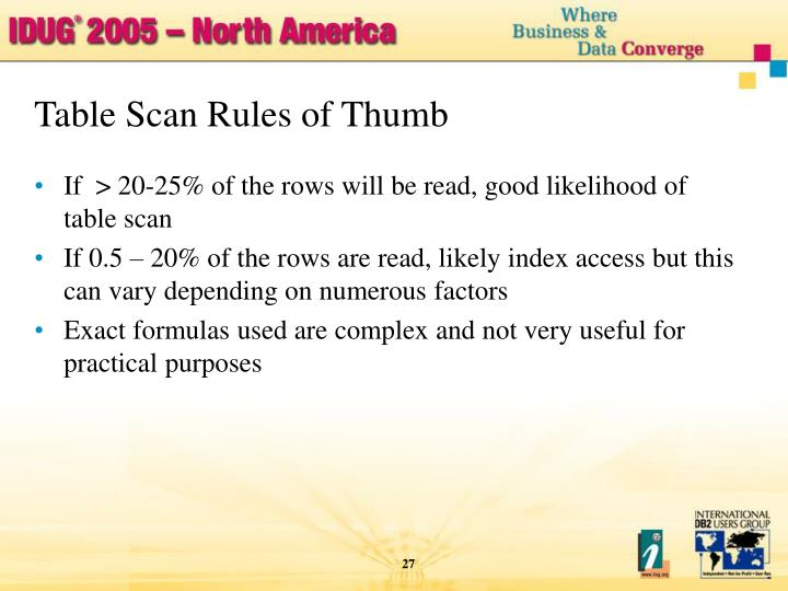 Table Scan Rules of Thumb